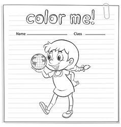 A coloring worksheet with a young girl vector