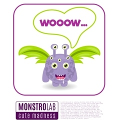 a monster saying wow vector image