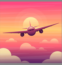 Airplane in sky with clouds at sunset vector