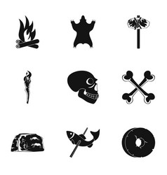 antiquated icons set simple style vector image
