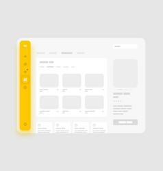 App sidebar menu concept wireframes screens vector
