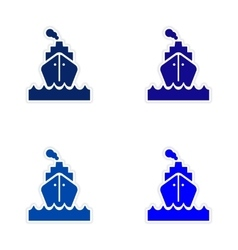 Assembly realistic sticker design on paper sea vector