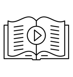 audio book play icon outline style vector image