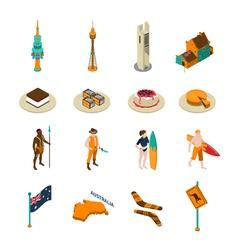 Australian Tourists Attraction Isometric Icons Set vector