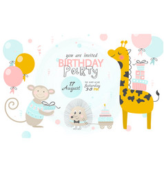 Birthday invitation with cute giraffe hedgehog vector