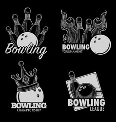 Bowling isolated icons skittles and ball vector