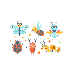 bugs set funny cartoon insects collection vector image