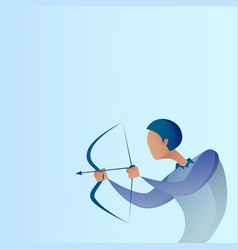 business man hold bow aim archer get goal concept vector image