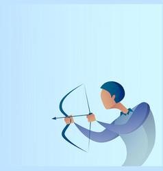 Business man hold bow aim archer get goal concept vector