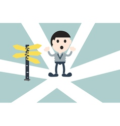 businessman standing at crossroads vector image
