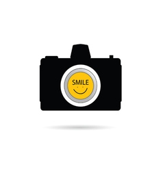 camera icon with smile symbol vector image