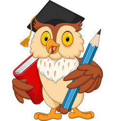 Cartoon owl holding pencil and book vector