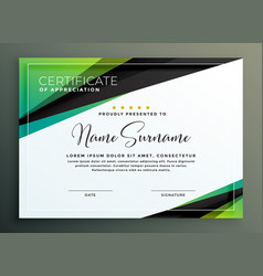 Certificate template design in green black vector