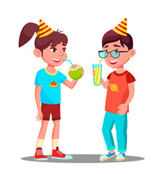 Children drink juice at party isolated vector