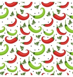 Chili peppers seamless pattern pepper red and vector