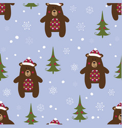 Christmas seamless pattern with bears vector