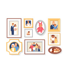 Collection of photos of family members or vector