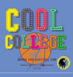 college basketball graphic design art vector image