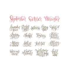 cozy fall lettering set hand drawn autumn vector image