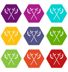 crossed battle axes icon set color hexahedron vector image