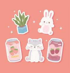 Cute animals soda vector