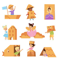 Cute creative kids playing toys and costumes made vector