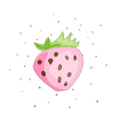 Cute fun pink strawberry with green leaves on vector