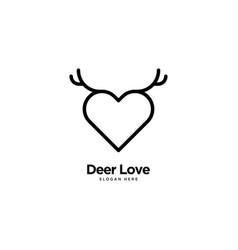 Deer love logo outline monoline vector