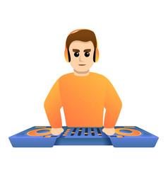 Dj orange clothes icon cartoon style vector