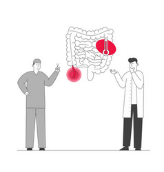 Doctor and surgeon stand at human intestines vector