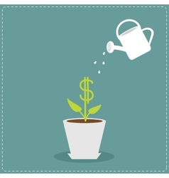 Dollar plant in the pot and watering can Financial vector image