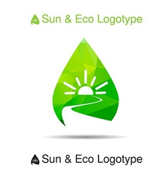 Ecology logotype icon and nature symbol sun river vector image