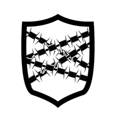 Emblem with metallic barbed wire icon vector