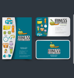 fitness and healthy lifestyle corporate identity vector image