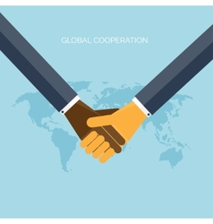 flat background with handsglobal cooperation vector image