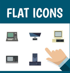 Flat icon computer set of processor pc vintage vector