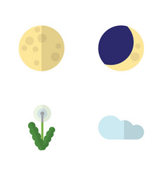 Flat icon nature set of overcast floral half vector