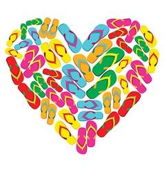 Flip flops in love heart shape vector image