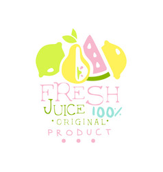 Fresh juice 100 percent natural product logo vector