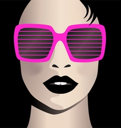 Glamor girl wear sunglasses Celebrity vector image