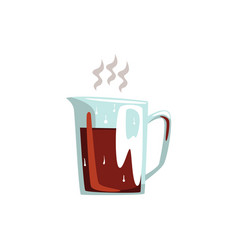 glass coffeepot hot coffee cartoon vector image