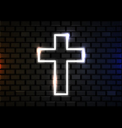glowing neon cross on brick wall background vector image