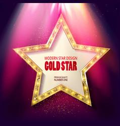 Golden star in rays bright light vector