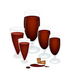 Grape Juice in Glass with Wine Cork vector image