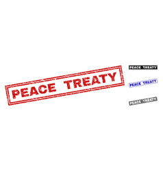 Grunge peace treaty textured rectangle watermarks vector