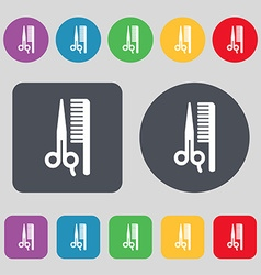 Hair icon sign A set of 12 colored buttons Flat vector