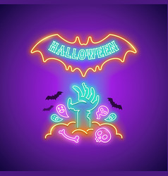 halloween neon sign with zombie hand vector image