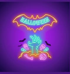 halloween neon sign with zombie hand vector image