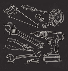 hand sketch icons set carpentry tools on black vector image