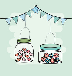 hanhing mason jars flowers garlands decoration vector image